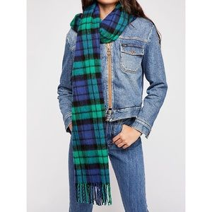Free People Bailey Brushed Plaid Scarf in Navy
